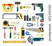 working tools set. tools for... | Shutterstock . vector #401191432