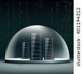network servers under a glass... | Shutterstock .eps vector #401194312
