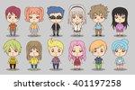 group of cartoon children.... | Shutterstock .eps vector #401197258