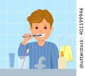 the child in pajamas brushing... | Shutterstock .eps vector #401199946