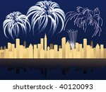new year night with fireworks... | Shutterstock .eps vector #40120093