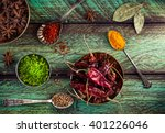 spices  dry red chili peppers... | Shutterstock . vector #401226046