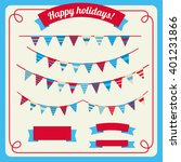 set of bunting and garland in... | Shutterstock .eps vector #401231866