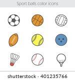 sport balls color icons set.... | Shutterstock .eps vector #401235766