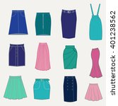 set with different skirts.... | Shutterstock .eps vector #401238562