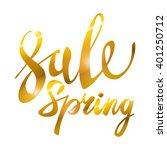 spring sale. gold inscription... | Shutterstock .eps vector #401250712