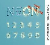 realistic neon character number ... | Shutterstock .eps vector #401254642