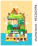 mediterranean island. tourist... | Shutterstock .eps vector #401262496