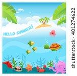 hello summer underwater scene | Shutterstock .eps vector #401274622
