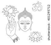 Head Of Buddha. Om Sign. Hand...