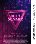 club party flyer. hello summer... | Shutterstock .eps vector #401303776