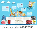 the major tourist attractions... | Shutterstock .eps vector #401309836