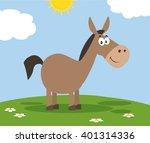Smiling Donkey Cartoon...