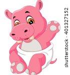 illustration of cute baby hippo ... | Shutterstock .eps vector #401327152