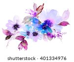 flowers watercolor illustration.... | Shutterstock . vector #401334976