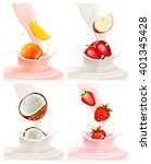 banners with delicious fruit... | Shutterstock .eps vector #401345428