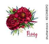watercolor peony bouquet ... | Shutterstock . vector #401348092