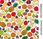 colored fruits doodle seamless... | Shutterstock .eps vector #401355088