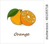 oranges  hand drawn. vector... | Shutterstock .eps vector #401355718