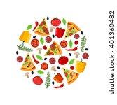 top view pizza ingredients in... | Shutterstock .eps vector #401360482