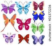 set of butterflies. vector... | Shutterstock .eps vector #401372236