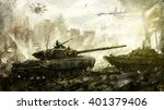 war  battle tank. digital art.... | Shutterstock . vector #401379406