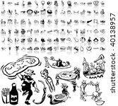 food set of black sketch. part... | Shutterstock .eps vector #40138957