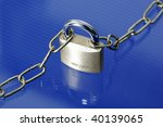 Lock And Chain Isolated On Blue ...