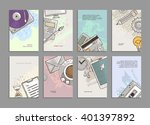 set of cards with engraving... | Shutterstock .eps vector #401397892