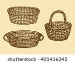 aged willow bast bread pottle... | Shutterstock .eps vector #401416342