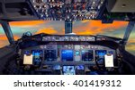 airplane cockpit flight deck in ... | Shutterstock . vector #401419312