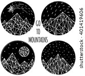 hand painted ink mountains ... | Shutterstock .eps vector #401419606