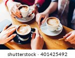 closeup of hands with coffee... | Shutterstock . vector #401425492