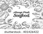 menu restaurant seafood. hand... | Shutterstock .eps vector #401426422