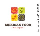 colorful mexican food logo....   Shutterstock . vector #401433238