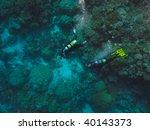 scuba divers great barrier reef ...   Shutterstock . vector #40143373