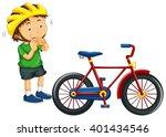 boy wearing helmet before... | Shutterstock .eps vector #401434546