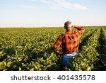 senior farmer in a field... | Shutterstock . vector #401435578