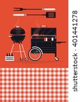 set of vector barbecue themed... | Shutterstock .eps vector #401441278
