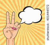 retro peace hand sign with... | Shutterstock .eps vector #401444572