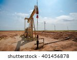 a single oil pumpjack on the... | Shutterstock . vector #401456878