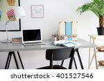 stylish workplace with computer ... | Shutterstock . vector #401527546