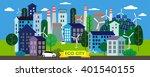 vector illustration. green city.... | Shutterstock .eps vector #401540155