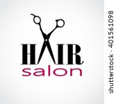 hair salon logo with scissors   ... | Shutterstock .eps vector #401561098
