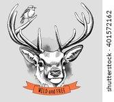 deer portrait with a bird.... | Shutterstock .eps vector #401572162