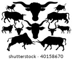 Set Of Silhouettes Of A Bull O...
