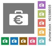 euro bag flat icon set on color ...