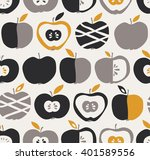 seamless pattern with apples | Shutterstock .eps vector #401589556