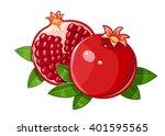 couple juicy ripe pomegranate... | Shutterstock .eps vector #401595565