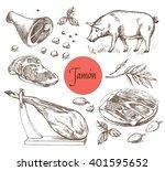 jamon set. black iberian pig ... | Shutterstock .eps vector #401595652